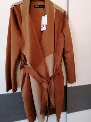Zara Gabardina tipo vestido marrón