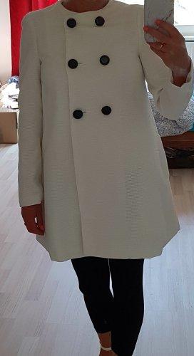 Mantel A-Linie kragenlos weiß