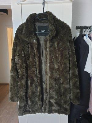 Vero Moda Manteau en fausse fourrure gris vert tissu mixte