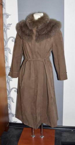Mantel Alconda Gr. 38, mit Fellbesatz, Größe M, Bindegürtel
