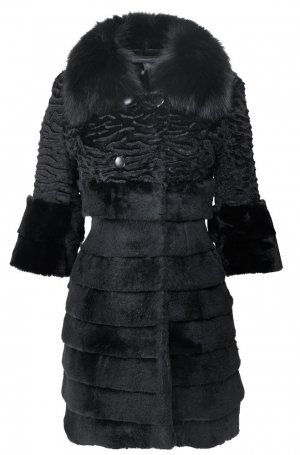 Arma Collection Manteau de fourrure noir fourrure