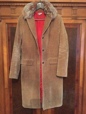 Mantel aus Kord mit Pelz Besatz