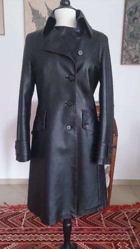 Cinque Manteau en cuir brun noir