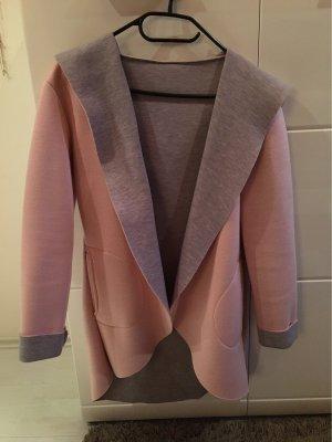 Manteau à capuche rose clair-gris clair