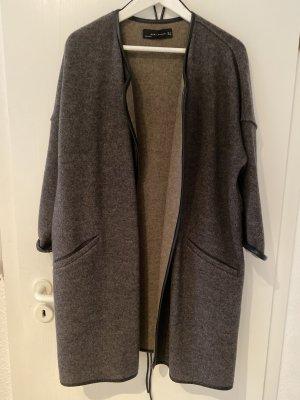 Zara Woman Cappotto in lana marrone-nero Lana