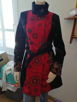 Manteau mi-saison noir-rouge