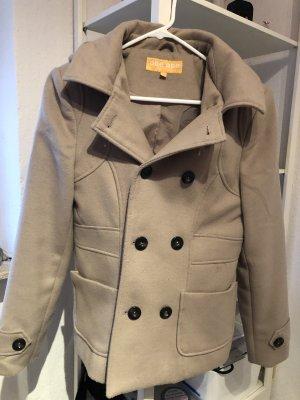 Abrigo con capucha beige claro-beige