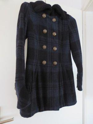 Mantel blau-schwarz Karomuster Wolle Größe 34