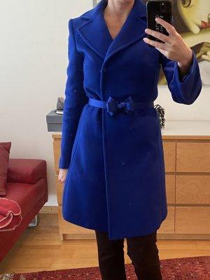Blugirl Blumarine Wełniany płaszcz niebieski