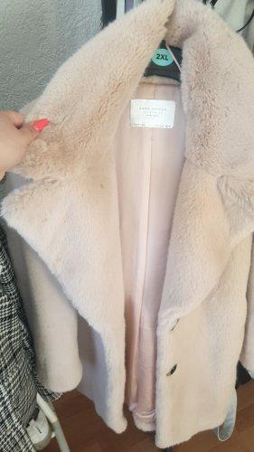 Zara Women Cappotto in eco pelliccia rosa antico