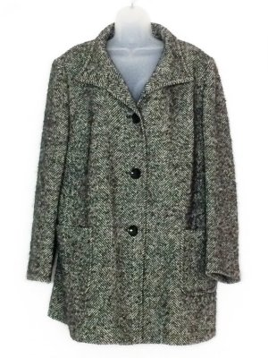 Basler Wool Coat black-white alpaca wool