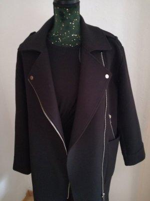 HM Długa kurtka czarny-srebrny