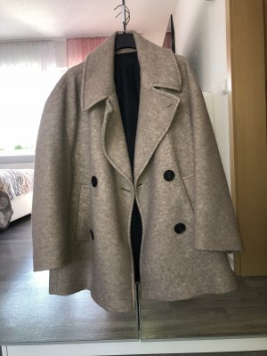 Zara Woman Płaszcz zimowy beżowy-kremowy