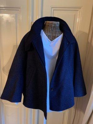 Zara Krótki płaszcz ciemnoniebieski
