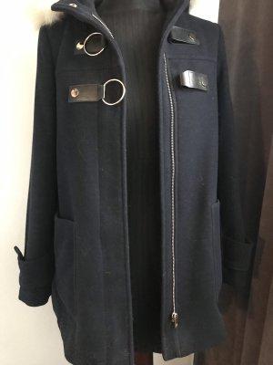 Zara Heavy Pea Coat dark blue