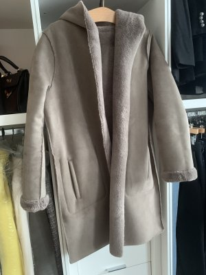 Zara Płaszcz polarowy bladofiołkowy-szaro-liliowy