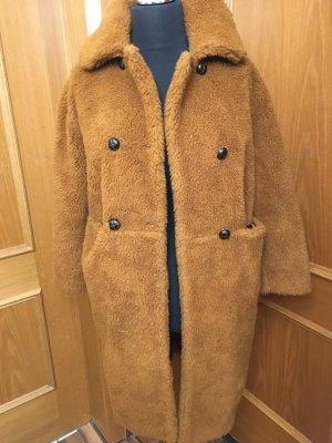 keine Futrzany płaszcz beżowy-brązowy