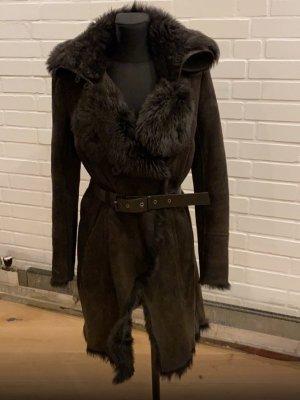 Patrizia Pepe Cappotto in pelle marrone scuro
