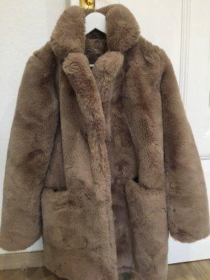 FRESHLIONS Manteau en fausse fourrure gris brun
