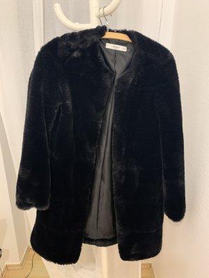 Mango Pelt Coat black
