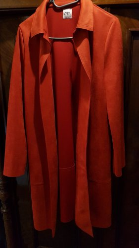 Zara Manteau en cuir orange foncé-rouge brique