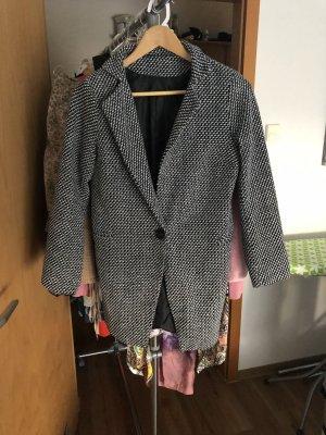 Pikowany płaszcz szary-czarny