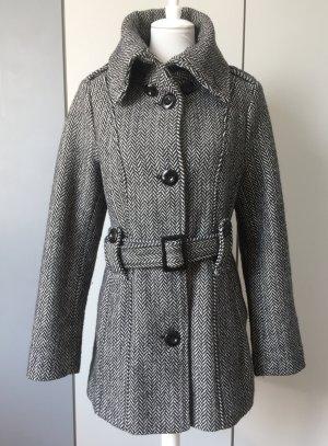 Amisu Manteau en cuir noir-blanc