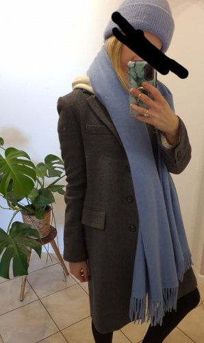 Zara Abrigo de lana gris-gris oscuro