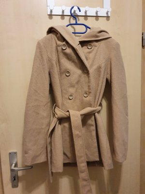 Amisu Hooded Coat beige-camel mixture fibre