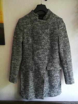 Zara Basic Sukienka płaszczowa biały-czarny