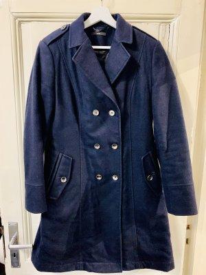 BOSS HUGO BOSS Wełniany płaszcz ciemnoniebieski-srebrny