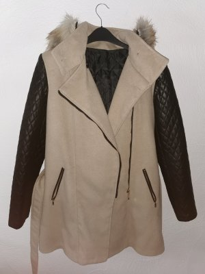 Moda Bella Hooded Coat black-beige