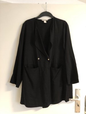 H&M Conscious Collection Płaszcz oversize czarny-złoto Lyocell