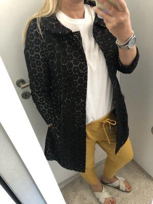 Mantel Jacke Gr. 34 xs schwarz Blumenlochmuster