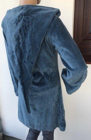 Mantel Jacke lang Nicki Stoff hellblau Bestickung Blütenranke Gr.34/36 Reißverschluß