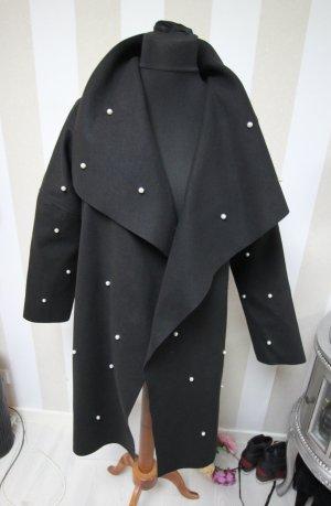 Płaszcz oversize czarny-biały
