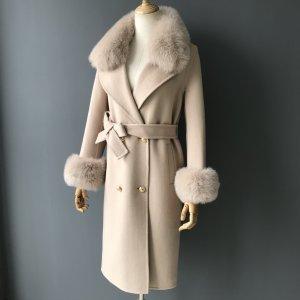Manteau de fourrure multicolore cachemire