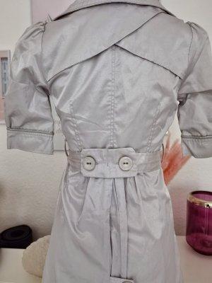 Mantel Kleid Mantelkleid Silber Grau Gürtel elegant insta Blogger gr 36