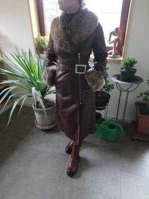 Mantel lang echtesleder mit lammfell Luxus pur !