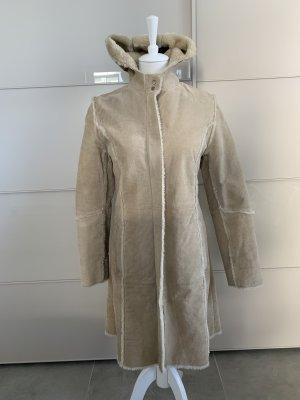 C&A Abrigo de cuero beige claro