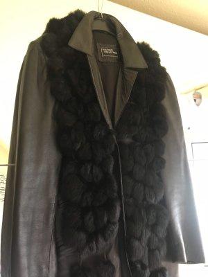 Mantel Leder schwarz mit Pelzkragen