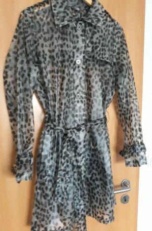 Mantel, leicht transparenter Kunststoff, Leomuster, White Label, Größe 42