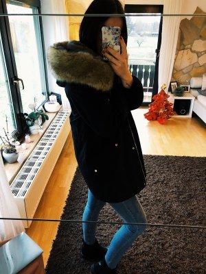 Mango Hooded Coat black