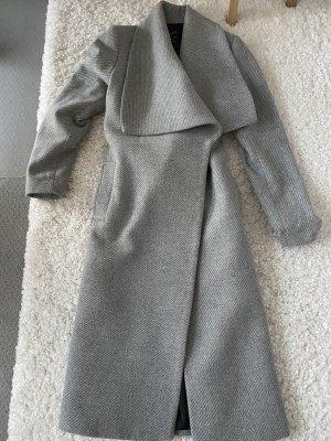 Mango Abrigo de lana gris claro-color plata