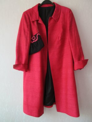 Short Coat raspberry-red-black silk