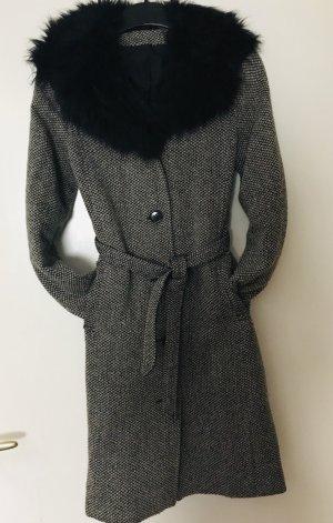 Mantel mit Fake Fellkragen