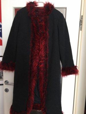 Płaszcz polarowy czarny-ciemnoczerwony