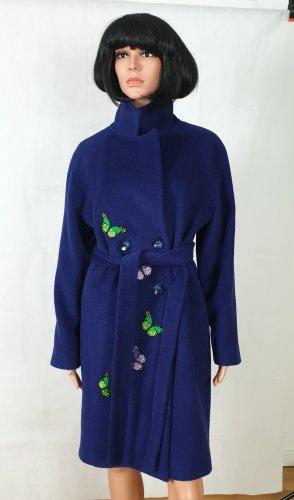Mantel, mit Gürtel,Blau, Alpaka,38, Unikat