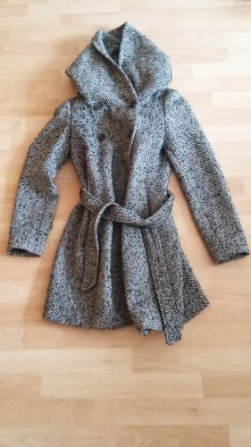 Zara Płaszcz z kapturem czarny-biały