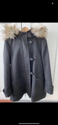 Zara Płaszcz z kapturem czarny-kremowy